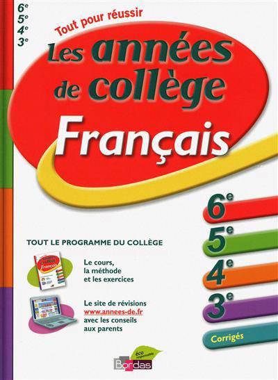 L Annee De Les Annees De College Francais 6eme 5eme