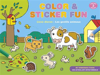 Color & sticker fun - Lieve dieren (vanaf 3 jaar) / Color & sticker fun - Les gentils animaux (dès 3 ans)